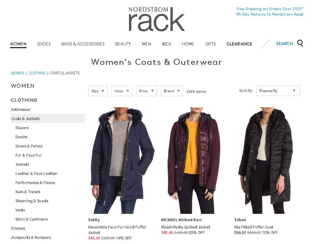 Nordstrom Rack Website