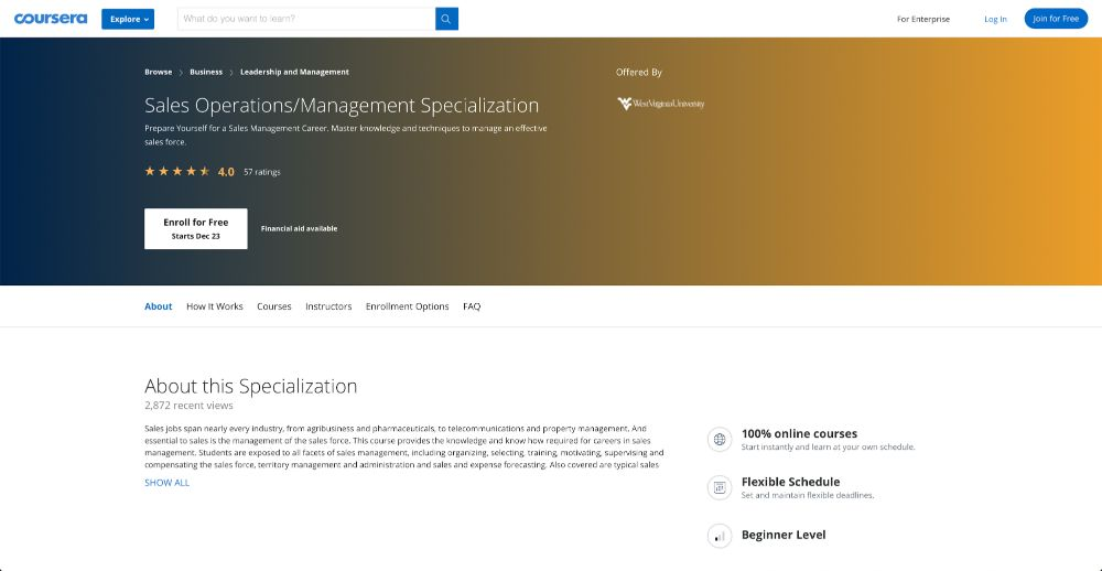 Sales Operations/Management Specialization - Coursera