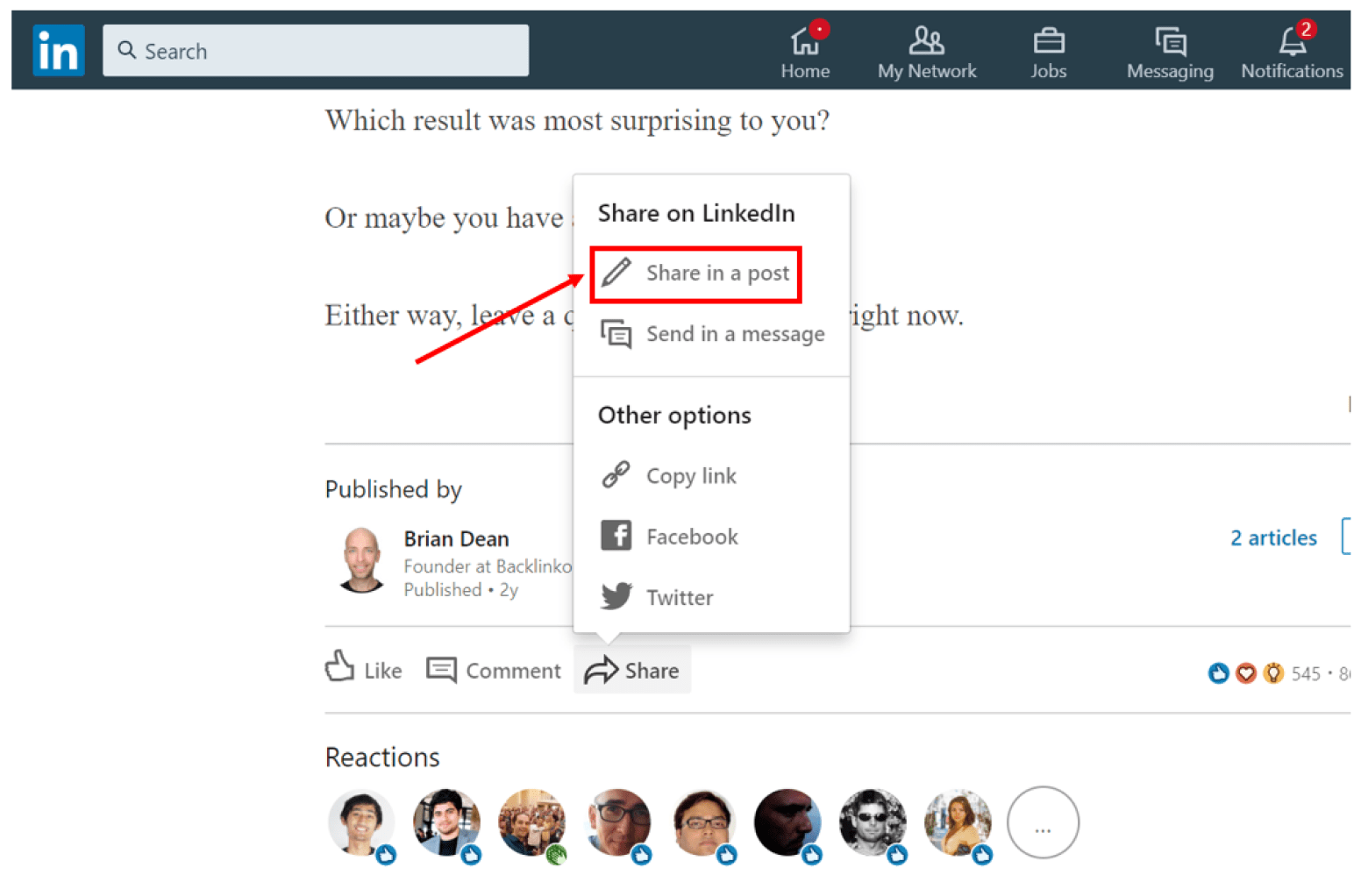 Brian Dean LinkedIn posts