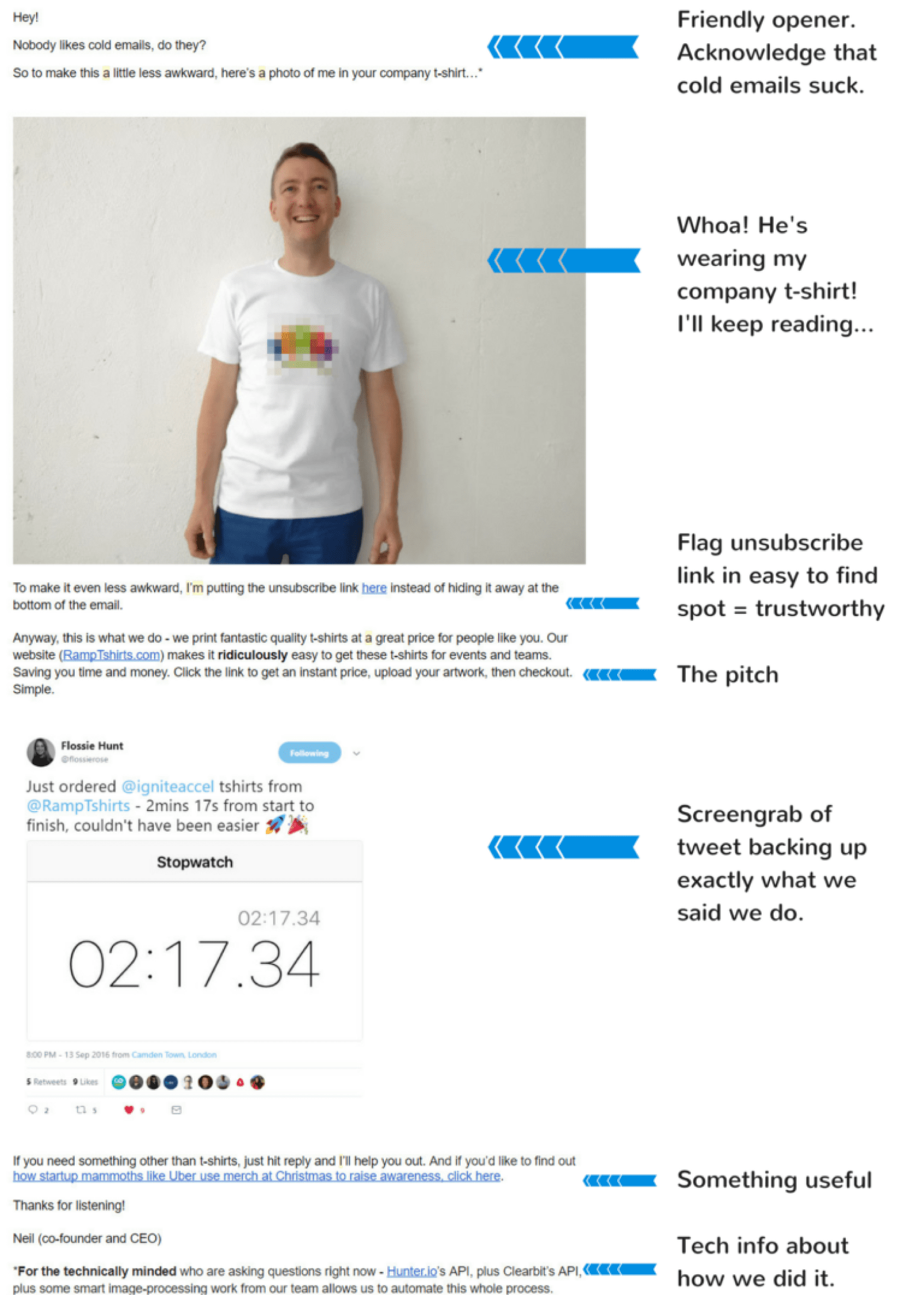 cold emails featuring a photo of Neil wearing each prospect's company t-shirt