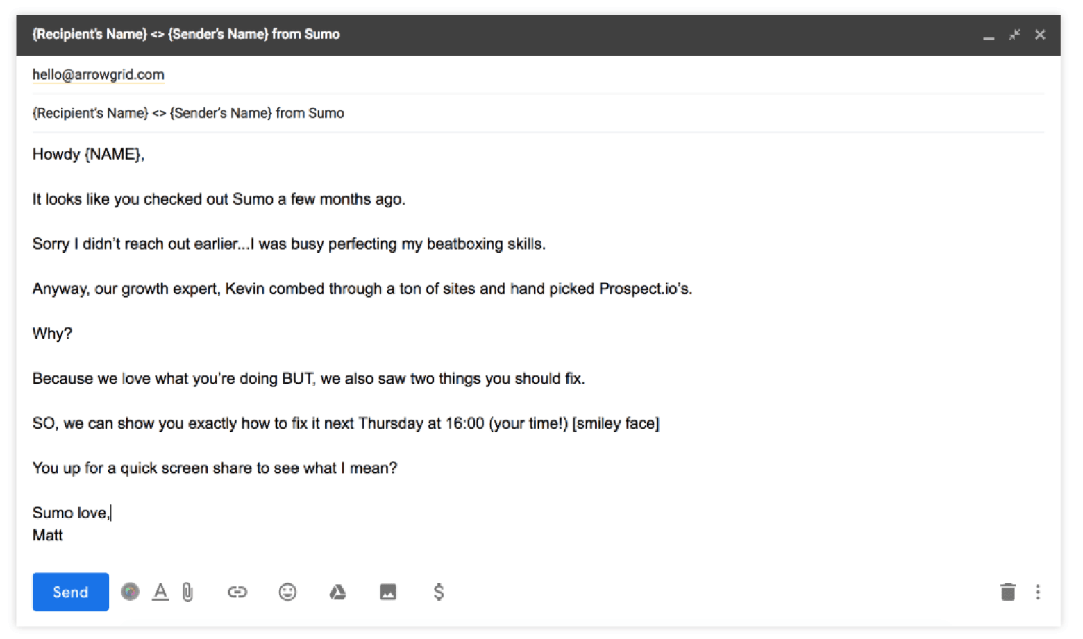 cold email example