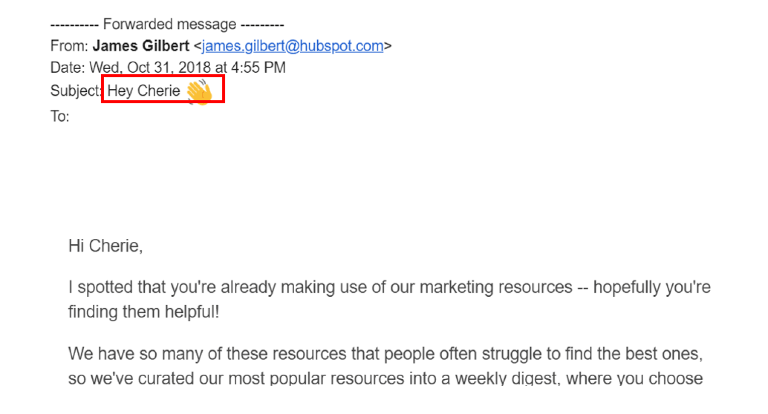 Personalize subject lines