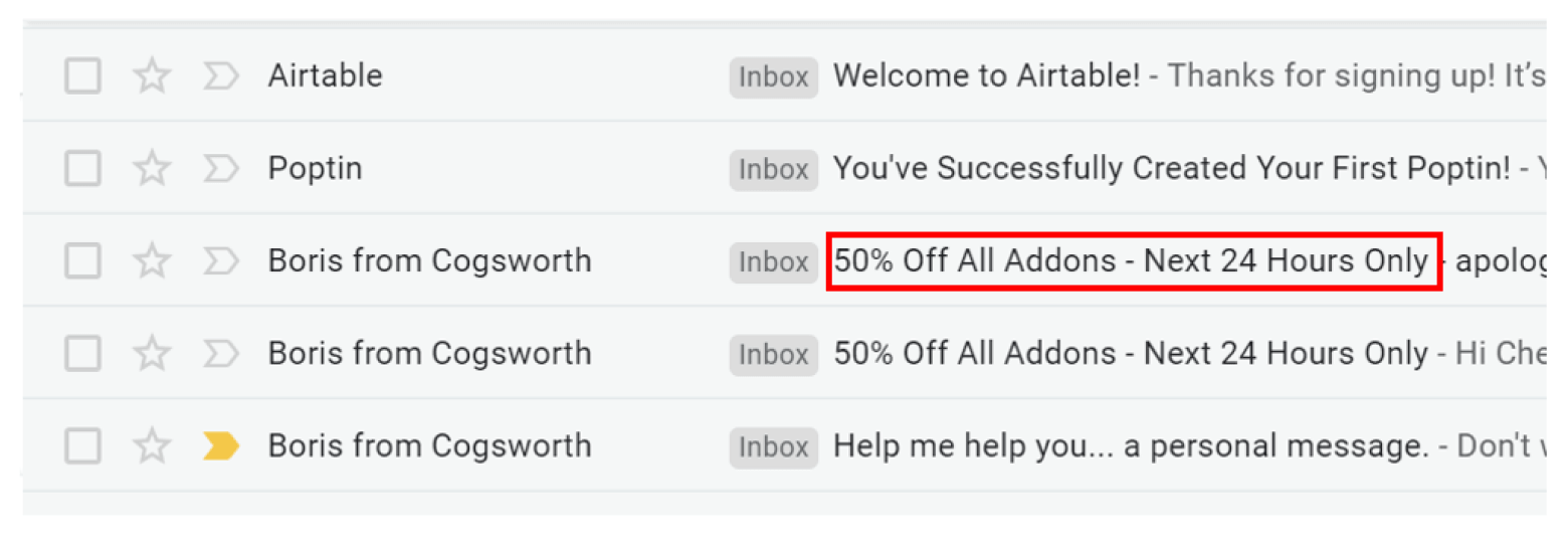 Reference deals in subject lines
