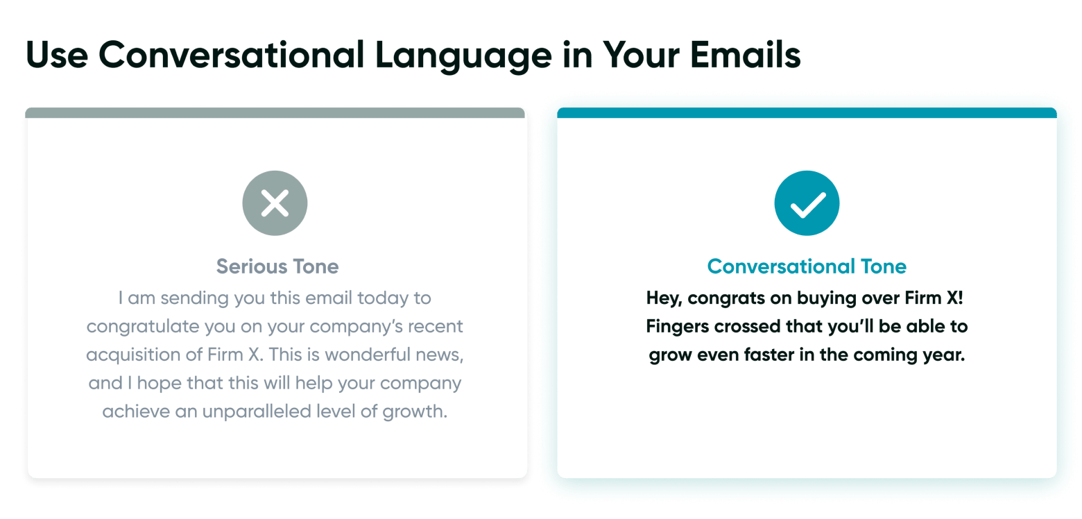 Use conversational language in your emails
