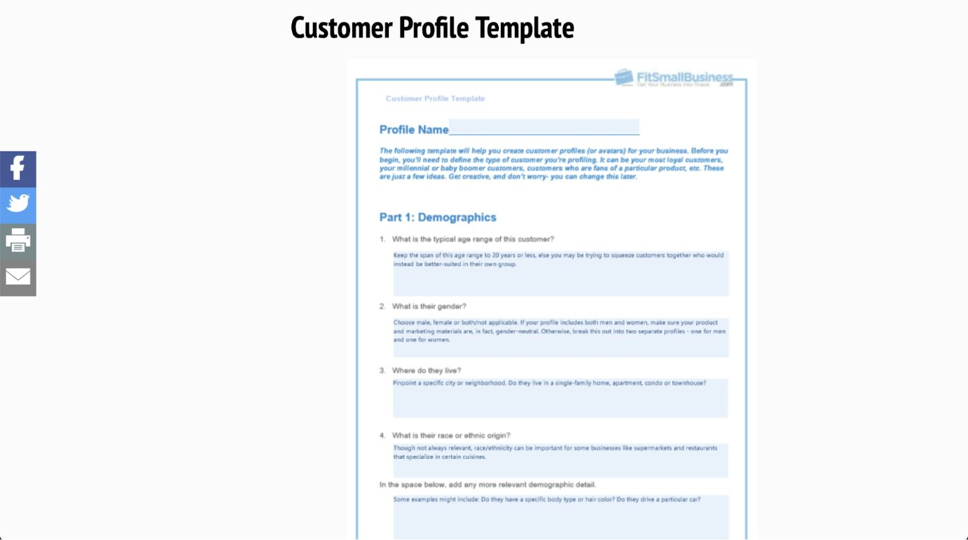 Fit Small Business - Profile Your Customers