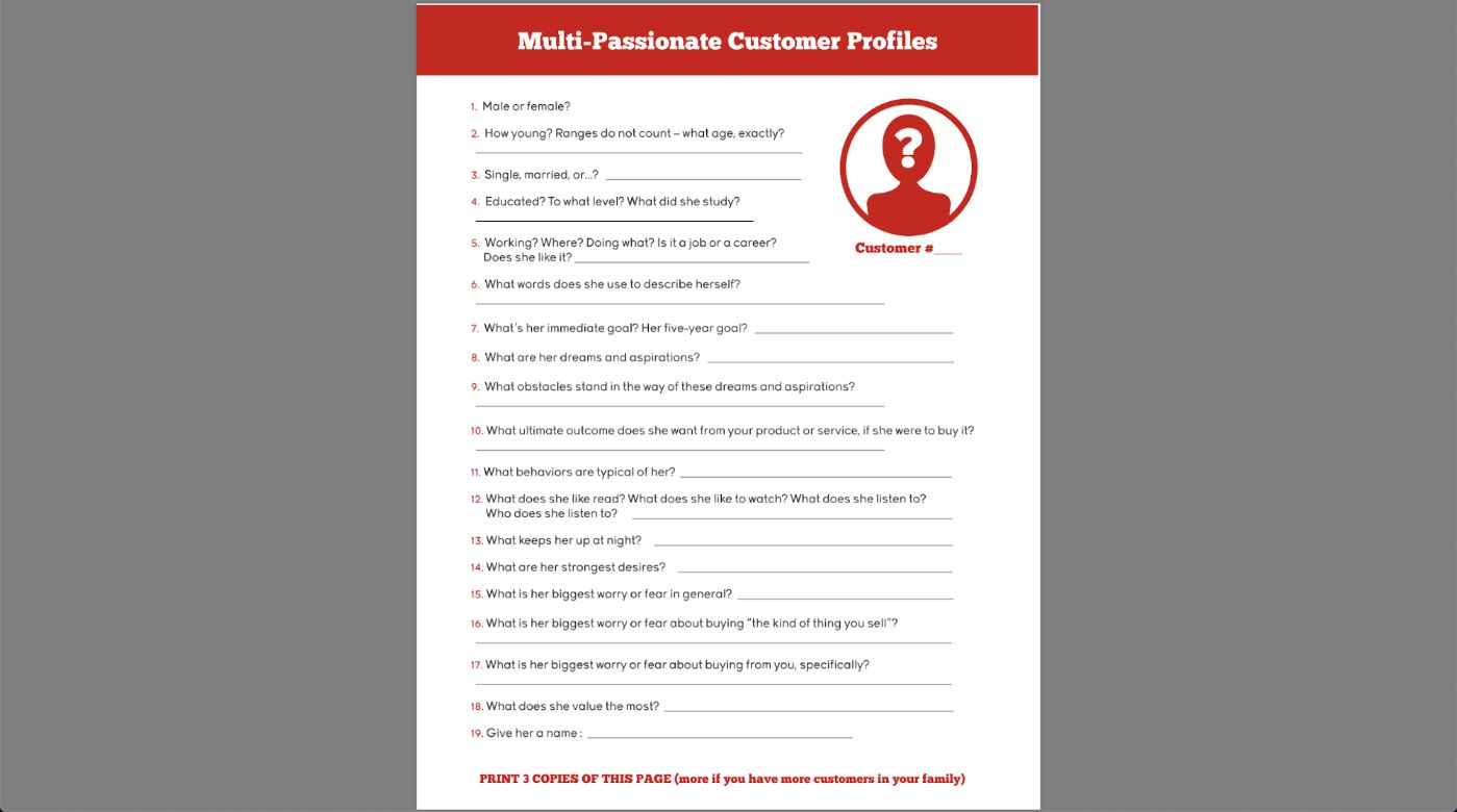 Mirasee - Customer Profile Template