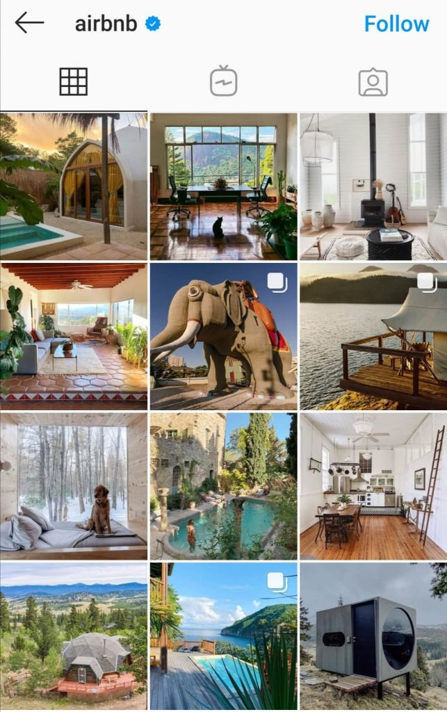 Airbnb shares amazing photos on Instagram as a sales tactic to grow their audience.