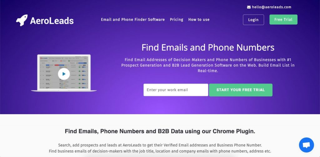 AeroLeads' chrome plugin lets you find someone's phone number by looking at their professional online profiles.