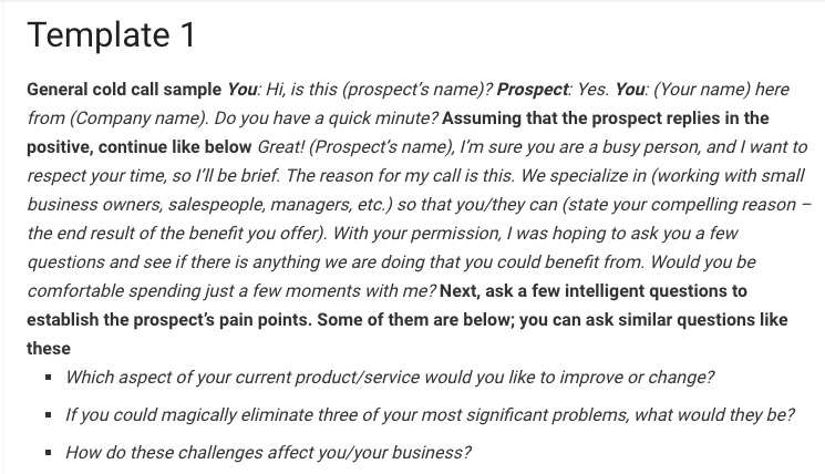 A comprehensive basic template for cold calling