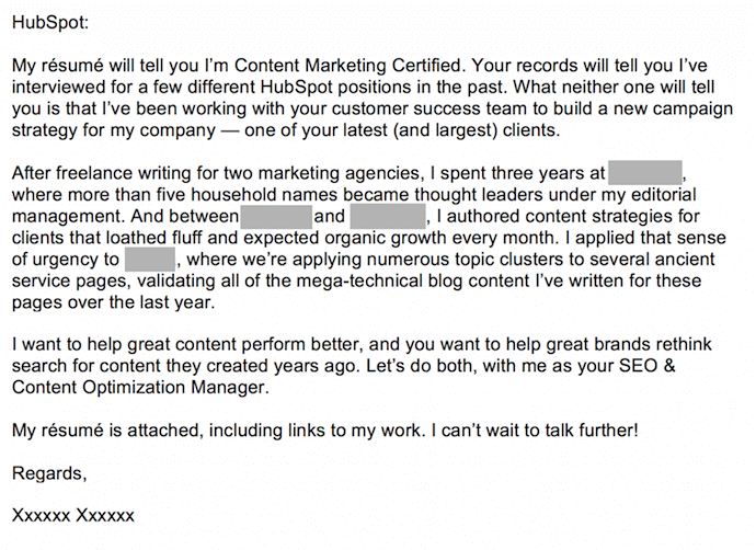 Cover letter submitted to HubSpot that sells the sender to the recipient.