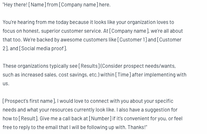 This script lets you use social proof to validate your solution during a cold call.