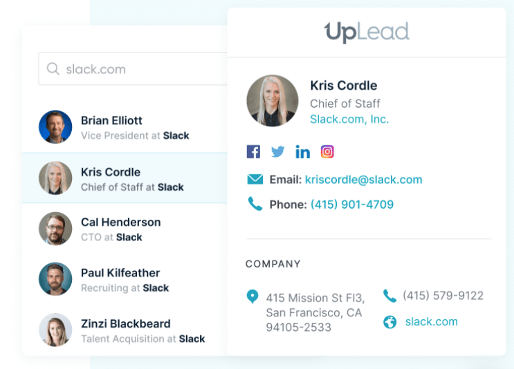 UpLead's email profile example.