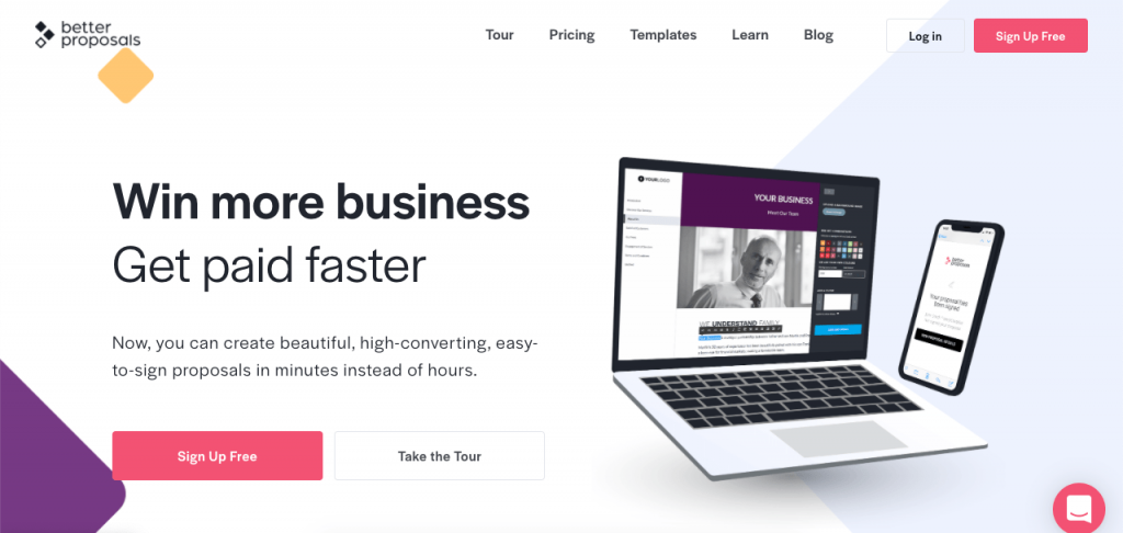 Better Proposals makes it easy to quickly develop attractive proposals from any device