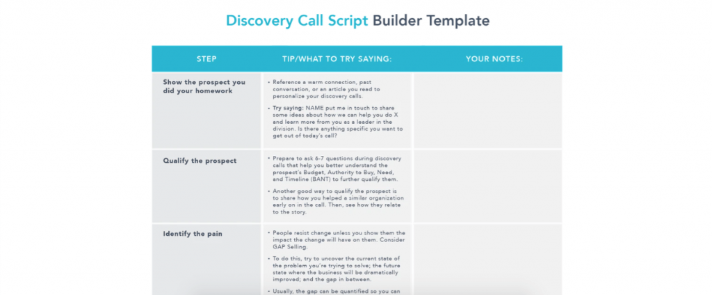 This free discovery call script builder by Chorus takes you step by step through the process to ensure your script is as effective as it can be.