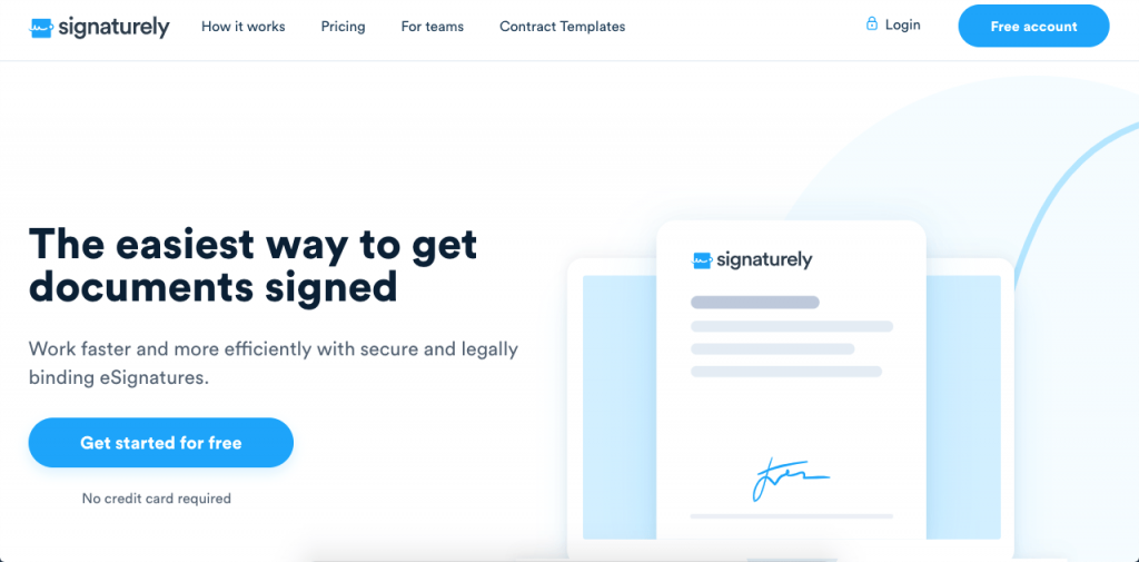 Signaturely is a simple and effective way to get paperless online signatures with legal validity.