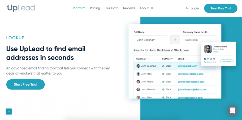 Uplead allows you to use your phone to find as many leads as you need in a few seconds