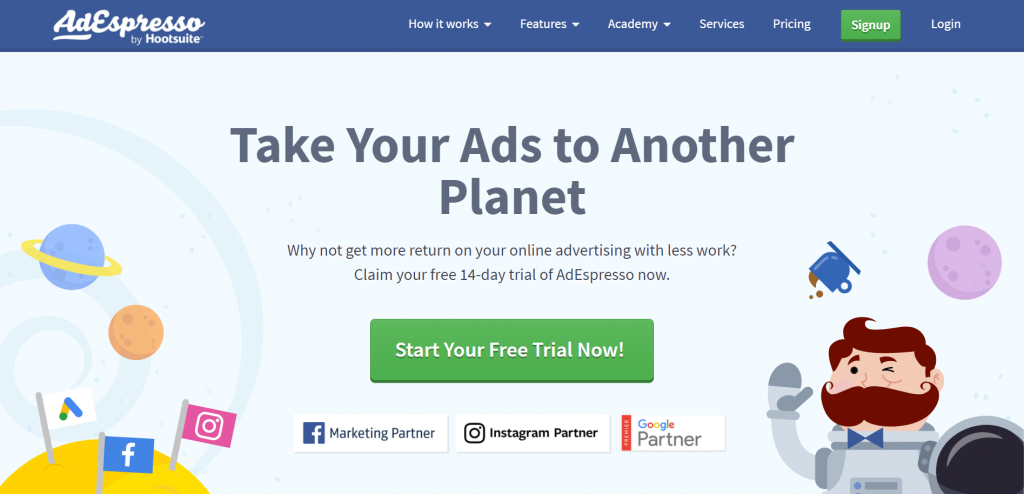 AdEspresso is a Facebook, Instagram, and Google paid ad analytics and optimization tool.