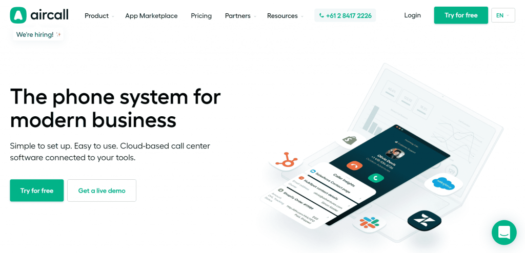 Aircall is a cloud-based call center software that allows businesses to set up call centers.