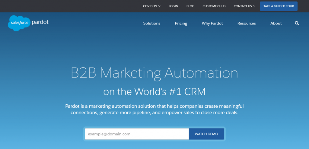 Pardot is a B2B marketing automation platform that helps marketing and sales teams with lead generation and nurturing.