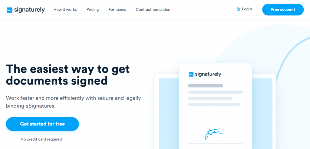 Signaturely is an e-signature SaaS that makes signing legally binding contracts online fast and easy.