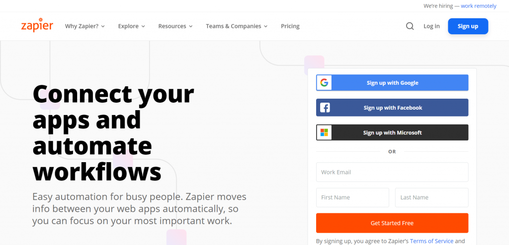 Zapier is an automation tool that allows you to seamlessly integrate all your apps, running them on autopilot.
