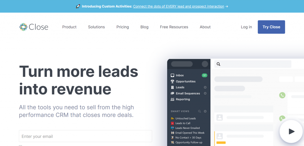 Close is a sales customer relationship marketing tool that generates leads to sales for small and medium-sized businesses.