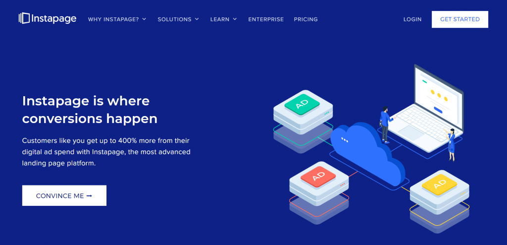 Instapage is a post-click landing page building tool that helps you create landing pages that convert well