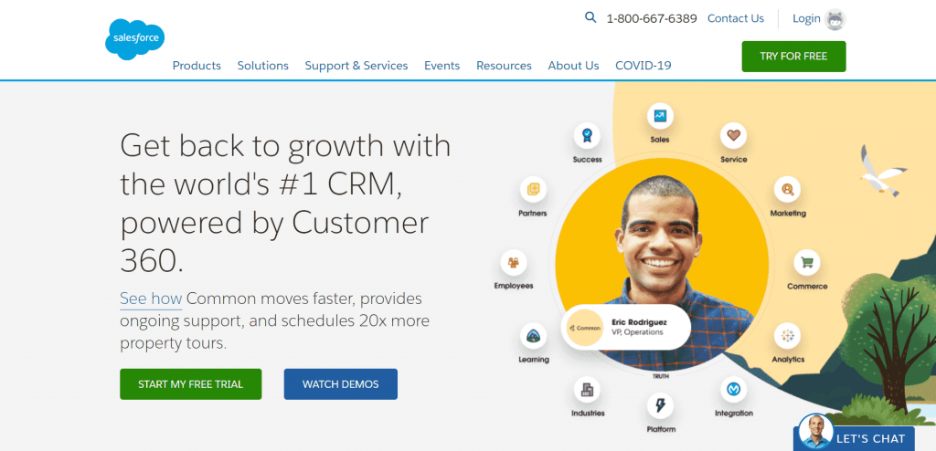 Salesforce is a CRM SaaS platform that helps 150,000+ businesses worldwide effectively streamline marketing and sales.