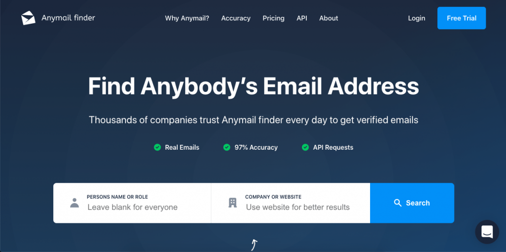 Another email lookup tool with a simple interface and free lookups is Anymail Finder.