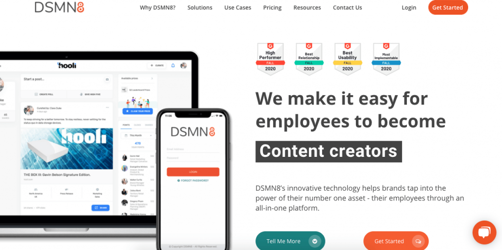 DSMN8 is a powerful, all-in-one employee influencer platform fully focused on engagement.