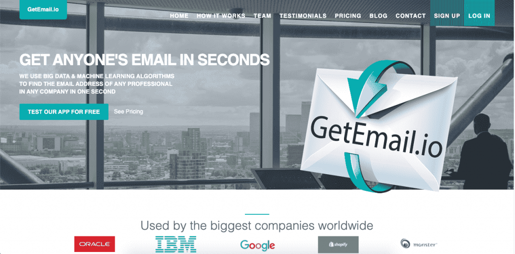 GetEmail.io is a French startup with a very simple and powerful email lookup tool.