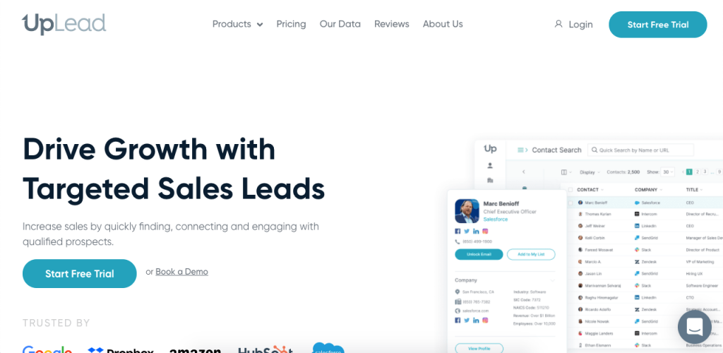 UpLead is an online B2B sales intelligence platform where you can easily find someone's emails.