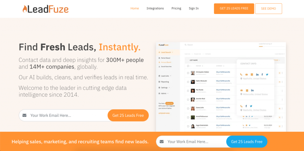 Another email lookup tool in the form of a Chrome extension is LeadFuze