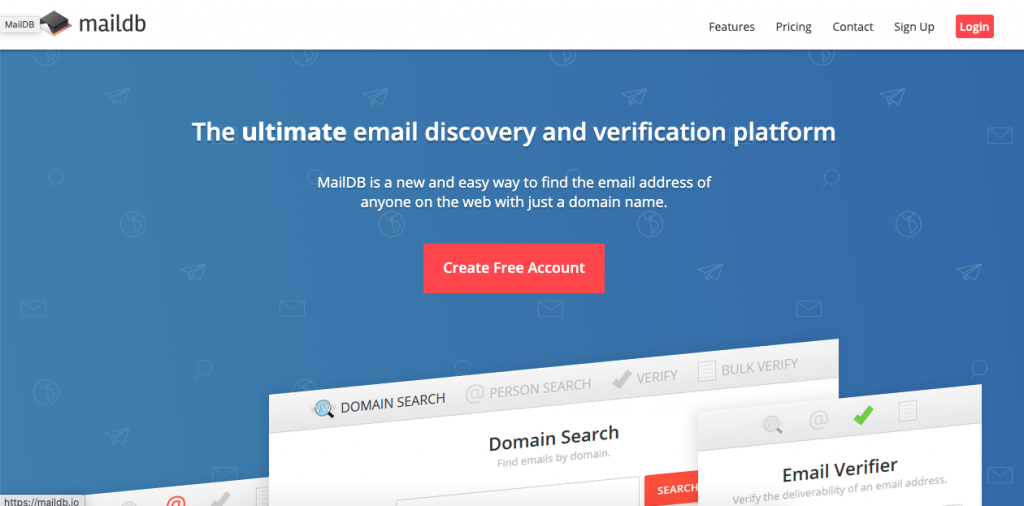 MailDB is a web tool that helps you find your lead's information through domain and person searches.