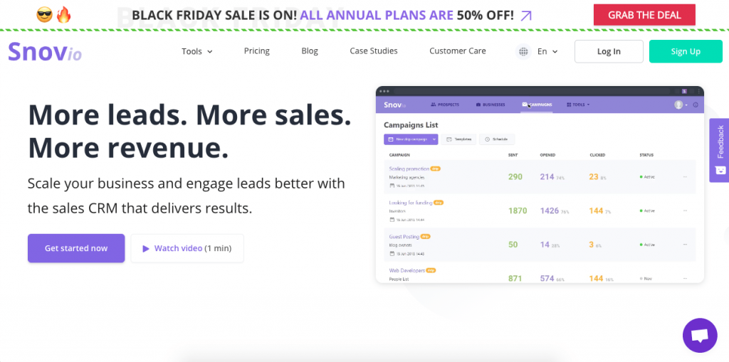 Snovio can help you create quality mailing lists for your marketing efforts.
