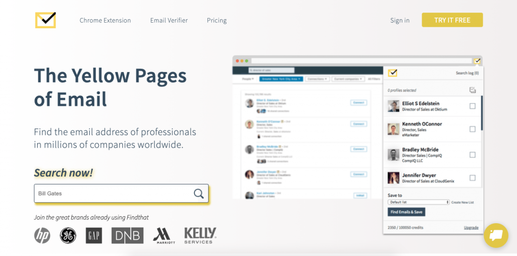 """Self-labeled as """"The Yellow Pages of Email"""", Findthat is an email address lookup tool that allows you to find a person's email address by looking them up through their name, company, or domain name."""
