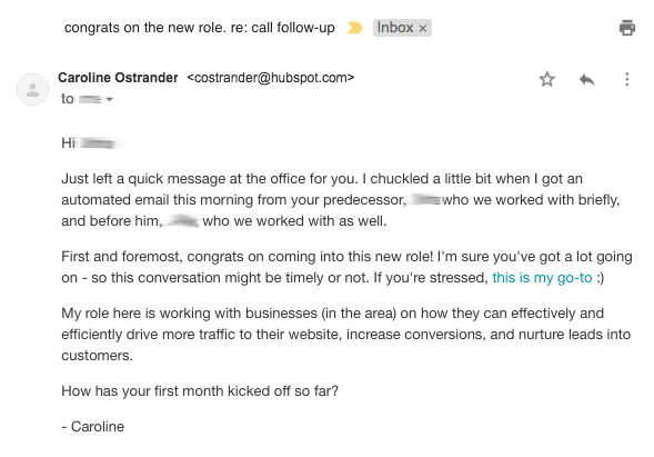 This email, for example, is so good at generating rapport through events that culminated in the lead asking for a meeting with the salesperson.