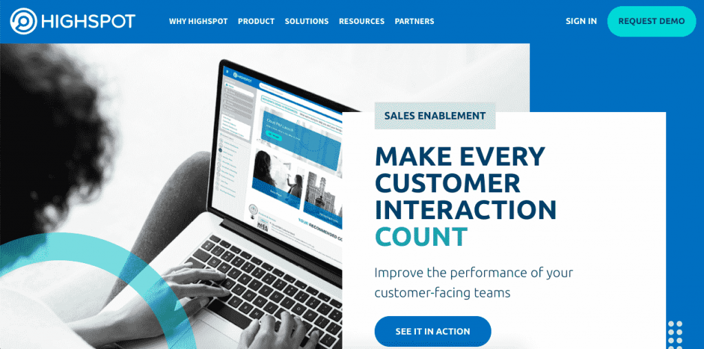 Highspot is a sales enablement platform that's packed with useful features for your sales and marketing teams.