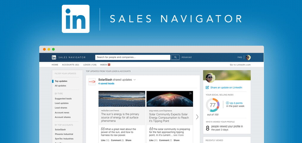 The LinkedIn Sales Navigator is a browser to find leads through LinkedIn's database.