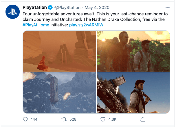 Playstation uses its social media to tease new releases, engage with its community, and even get people hyped up about its next big products.