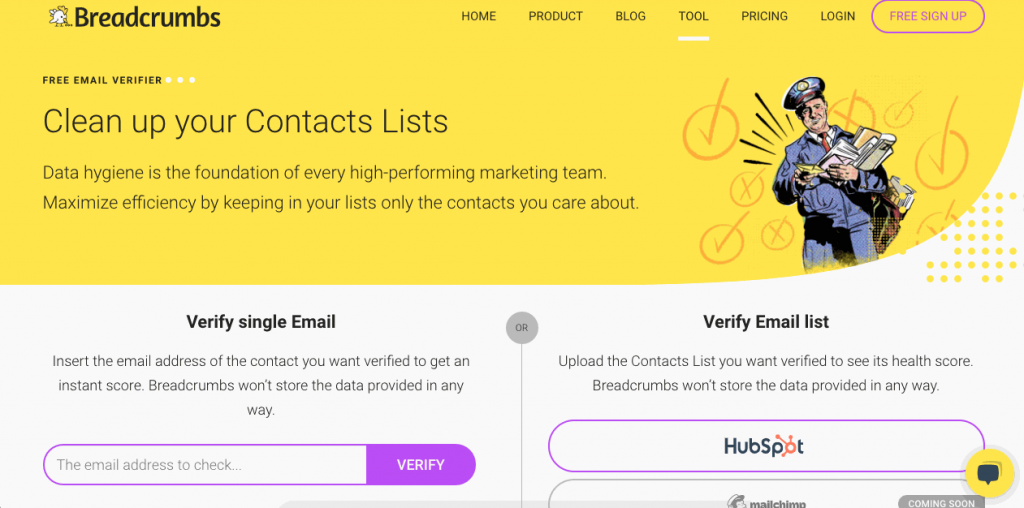 Breadcrumbs' Email Verifier is an email verification tool that is very easy to use.