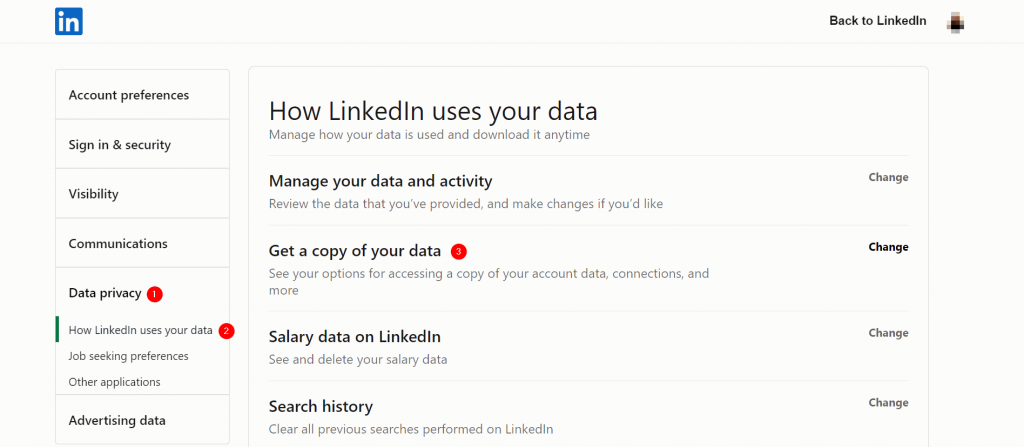 Get a copy of your data from LinkedIn