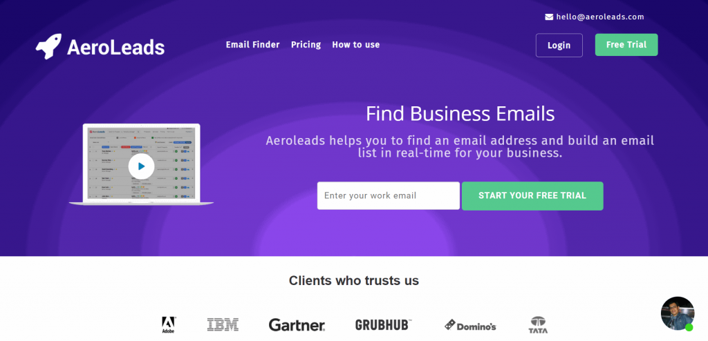 The AeroLeads Chrome Extension tool helps you uncover business emails on various platforms, such as LinkedIn
