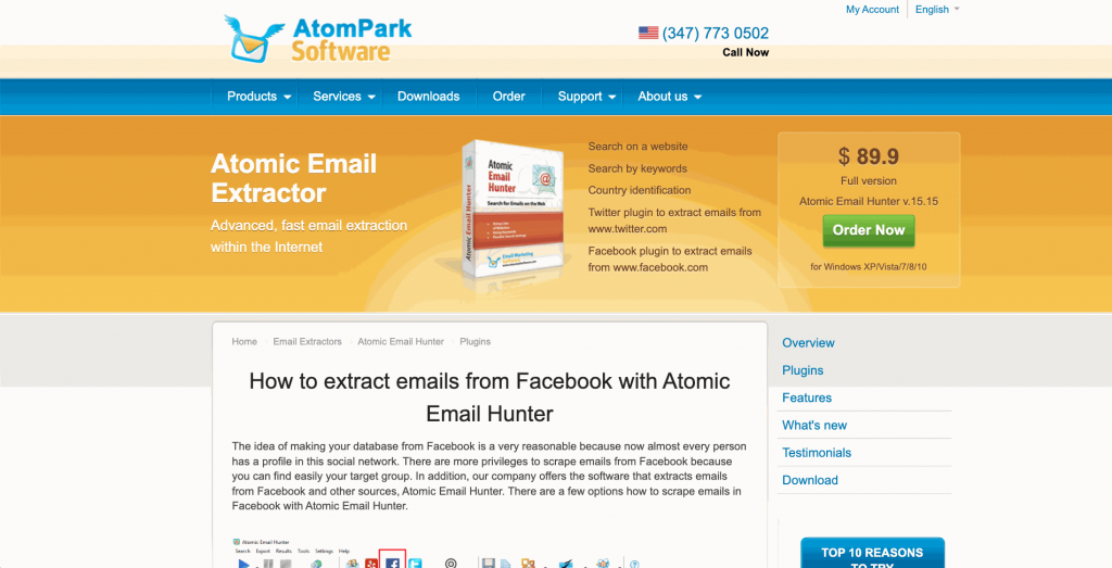 Atomic Email Hunter is a bulk email marketing software for online business with a Facebook email extractor add-on.