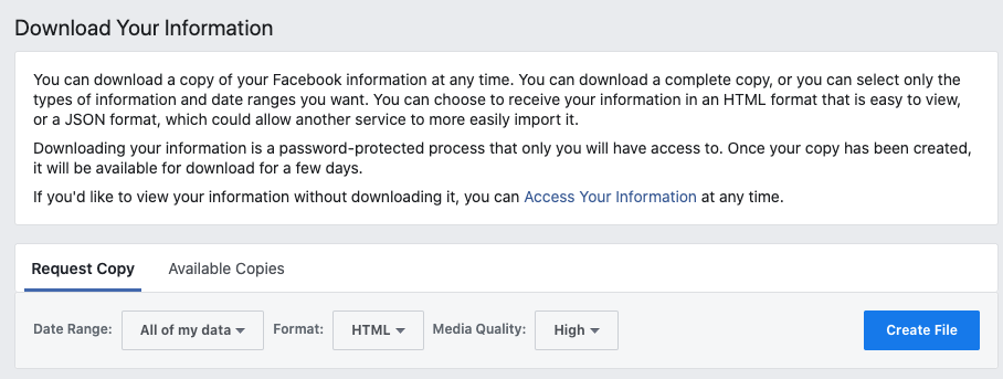 """Click on """"Download my information."""" This will take you to another page where you can select which information you want."""