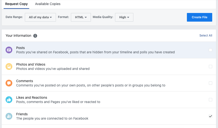 Request the data you need from Facebook