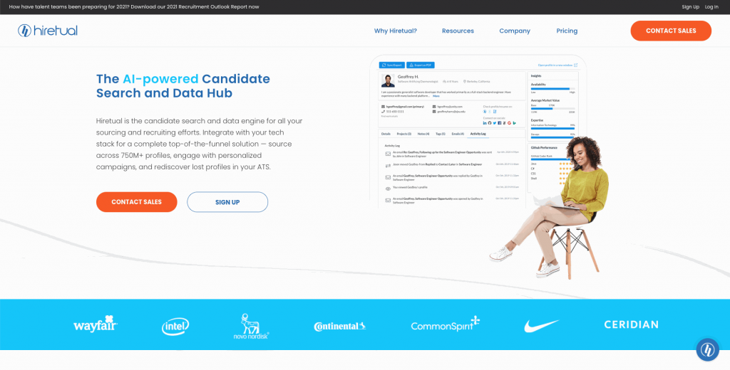 Hiretual is an AI-powered recruiting platform that was recently formed in Mountain View, California. Its focus is on helping recruiters reach people faster by automating some processes.