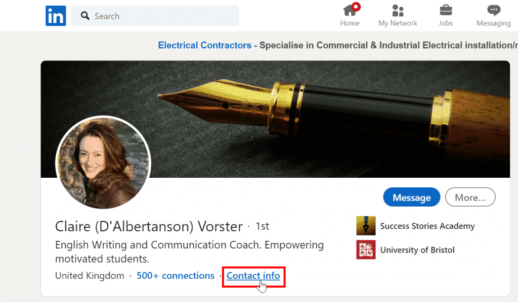 The easiest way to find a person's email address on LinkedIn is to send them a connection request.