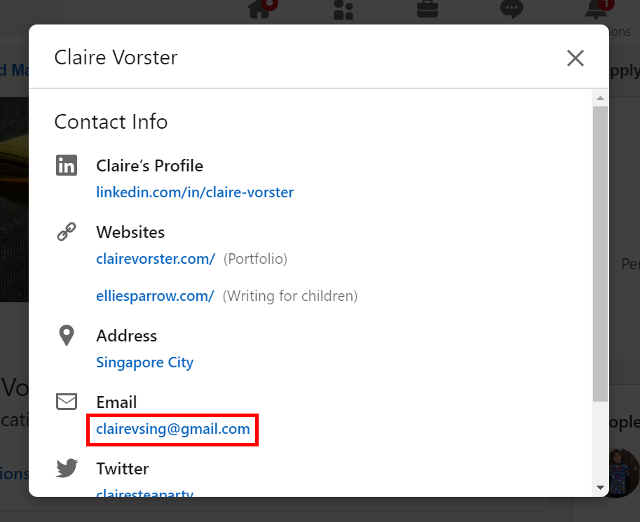 If the person has chosen to display their email address on LinkedIn, you'll find it in the contact information