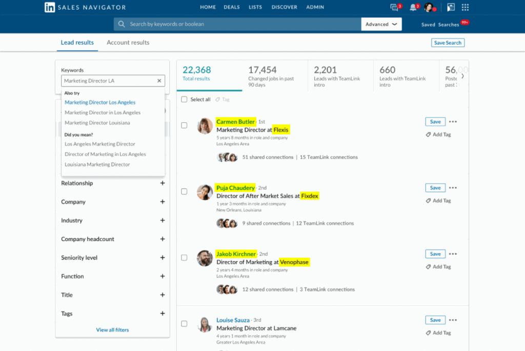 LinkedIn Sales Navigator allows you to access additional information about LinkedIn contacts you aren't connected with